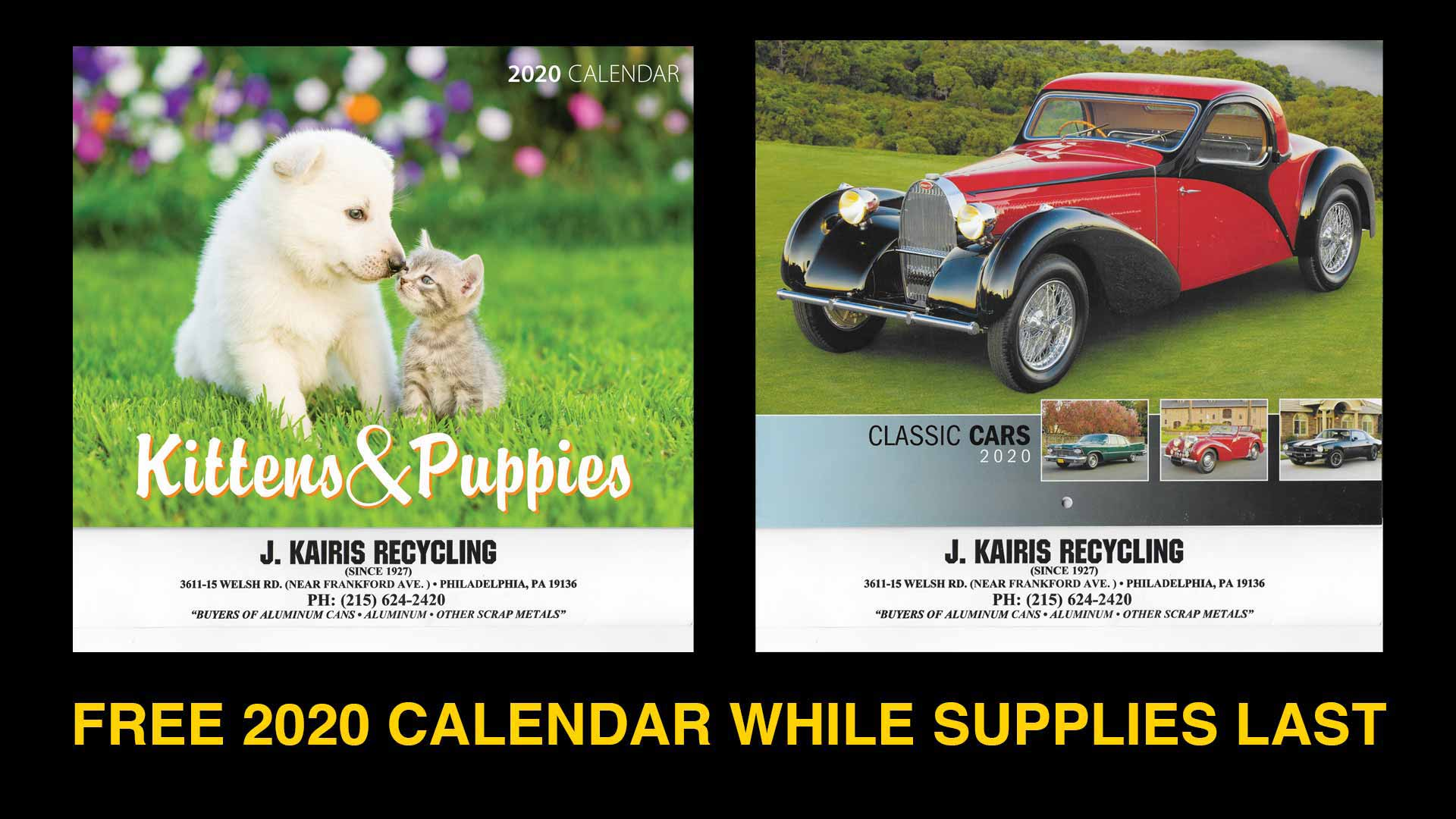FREE 20202 Calendar while supplies last